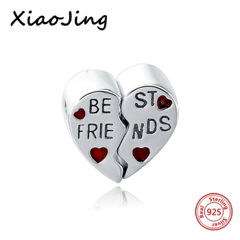 Friendship Charm 925 Sterling Silver European Heart Charms Beads Fit Women Original Pandora Bracelets DIY jewelry making gifts