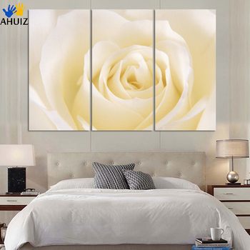 Direct factory price!3 piece white rose flower picture print living room wall paintings canvas Modern wall art decor H183