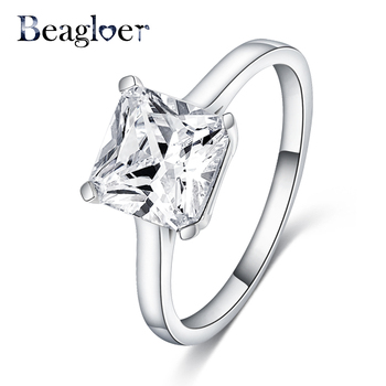 Beagloer Latest Design Rings Silver Color Square Shape Crystal Ring Female Engagement Jewelry CRI0367-B
