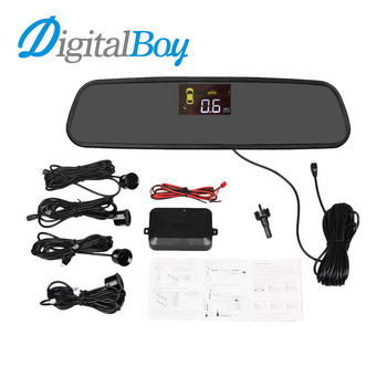 Brand New Car Rear Mirror LCD Parking Sensor Reverse Backup Kit Rearview with 4 Sensors Car Accessories Reversing Safety